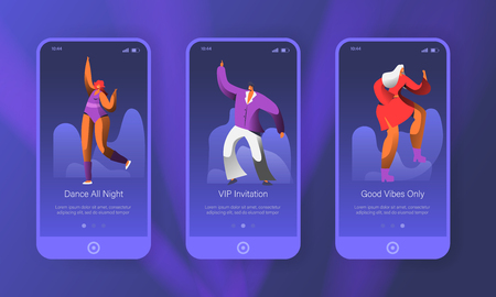Dancing Disco Characters Mobile App Onboard Screen Page Set. Man and Woman Dance in Night Club. Music Dancer Concept for Website or Web Page. Flat Cartoon Vector Illustration Иллюстрация