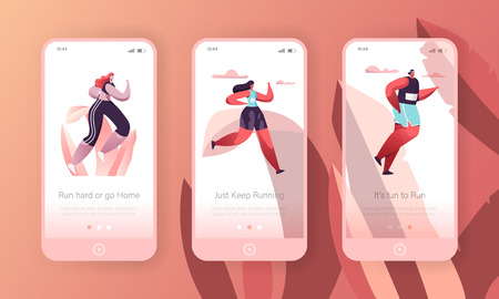 Fitness Character Run Mobile App Onboard Screen Page Template Set. Cardio Sport Training Workout. Healthy Lifestyle Concept for Website or Web Page. Flat Cartoon Vector Illustration