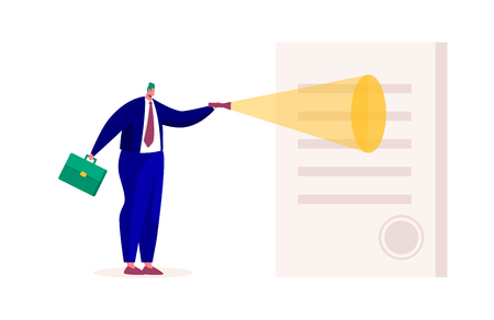 Businessman Character Explore Contract Lighted with Flashlight. Giant Man Looking at Paper Agreement. Partnership and Cooperation Concept. Flat Cartoon Vector Illustration