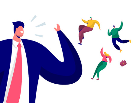 Top Manager Dismiss Employees Characters. Firing, Dismissal, Unemployment, Jobless Concept with Angry Boss Screaming and Fired Businessman. Flat Cartoon Vector Illustration