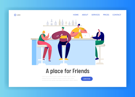 Man and Woman Characters Drinking in Bar Landing Page Template. Friends with Cocktails Friendship Relationships Concept for Website or Web Page. Flat Cartoon Vector Illustration Иллюстрация