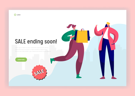 Shopping Sale Rush Hour Landing Page. Woman Running with Bags to Buy Last Discount Goods. Shopaholic Concept for Website or Web Page. Flat Cartoon Vector Illustration