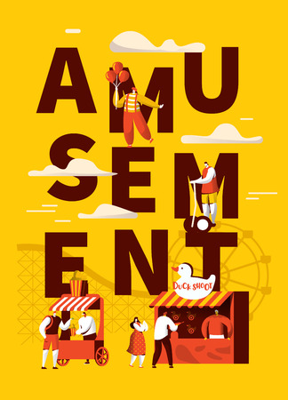 Amusement Park Attraction Poster. Happy Characters and Clown on Carnival. Entertainment Family Time Concept for Banner, Flyer, Advertising. Flat Vector Illustration
