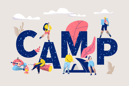 Camp Adventure Banner. Camping Horizontal Poster with Active People Characters in Outdoor Travel for Website or Print. Summertime Vacation on Nature. Flat Cartoon Vector Illustration
