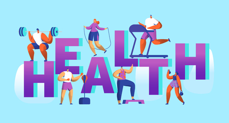 Healthy Lifestyle Sport Banner. Cardio Gym Training Characters Workout Concept for Poster Print. Man and Woman with Dumbbell. Flat Cartoon Vector Illustration Illustration