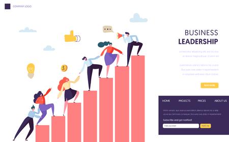 Business Leader Help Team Erreichen der Website. Leute, die das Diagramm hinaufklettern. Karriereleiter mit Charakteren. Teamwork, Partnerschaftskonzept für Website oder Webseite. Flache Cartoon-Vektor-Illustration