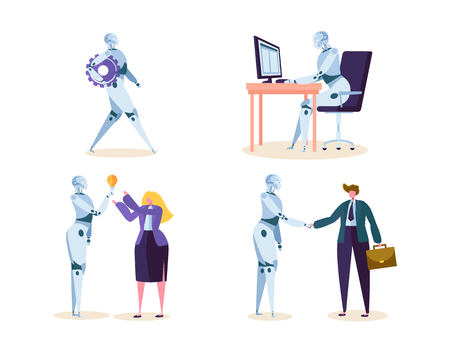 Robot Work in Office with People. Machine Ai Character Help Businessman in Future Job. Cyborg and Man make Agreement with Handshake. Flat Cartoon Vector Illustration Archivio Fotografico - 114304258