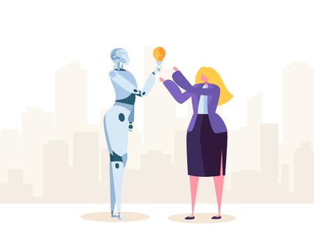 Creative Robot Help Businesswoman make Good Solution. Ai Imagination Create Futuristic Idea. New level of Automation. Flat Cartoon Vector Illustration
