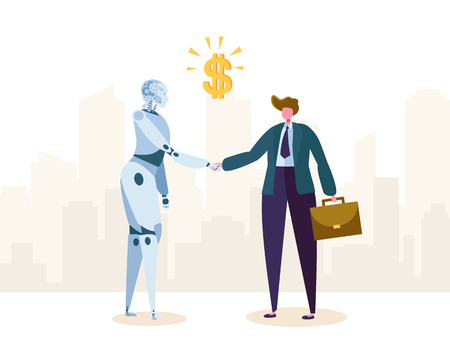 Robot and Businessman make Agreement about Partnership by Handshake. Ai Character Partner Help Business Automation and Growth. Machine Technology Evolution. Flat Cartoon Vector Illustration 일러스트