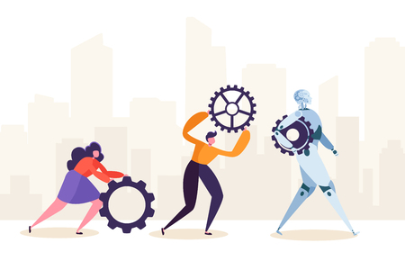 People and Robot Working Together. Human Characters and Robotic Rolling Gear. Future Man and Ai Partnership Concept. Flat Cartoon Vector Illustration Illustration
