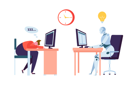 Robot Work while Businessman Sleeps. Human and Droid Competition at Office. Robotic Character Worker Future Evolution. Flat Cartoon Vector Illustration