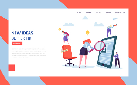 Hr Recruit Hire Talent Landing Page Template. Vacant Business Job Sign on Chair. Character Search Resume of Employee Concept for Website or Web Page. Flat Character Vector Illustration