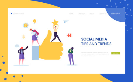 Digital Social Marketing Character Landing Page Design. Advertising Agency Teamwork for Online Strategy Development Concept for Website Template. Flat Cartoon Vector Illustration 矢量图像