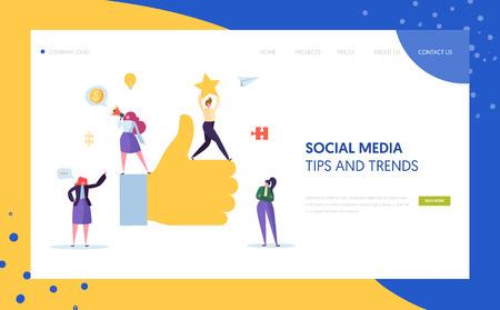 Diseño de página de destino de personajes de marketing social digital. Trabajo en equipo de la agencia de publicidad para el concepto de desarrollo de estrategia en línea para la plantilla del sitio web. Ilustración de vector de dibujos animados plana Ilustración de vector
