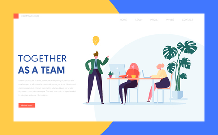 Teamwork Creative Idea Concept for Landing Page. Agency Character Brainstorm for New Digital Business Strategy. Office Team Work Process Website or Banner. Flat Cartoon Vector Illustration