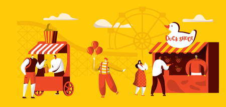Amusement Park of Attractions Banner Template. Coaster rides, Circus Happy Clown Character with Balloon. Fun Entertainment Playground Flat Cartoon Vector Illustration