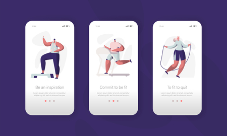 Fitness Gym Character Mobile App Page Onboard Screen Set. Sport Healthy Exercise Man and Woman Workout Application Ui. Sport Lifestyle Concept for Website or Web Page. Flat Vector Illustration