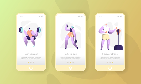 Sport Character Mobile App Page Onboard Screen Set. Gym Exercise Man and Woman Workout Application Ui. Weightlifter Lifestyle Concept for Website or Web Page. Flat Vector Illustration Иллюстрация