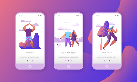 Urban Weekend Lifestyle in Park Mobile App Page Onboard Screen Set. Yoga meditate, Run, Walk Dog Summer Morning Activity Outdoor Concept for Website or Web Page. Flat Character Vector Illustration