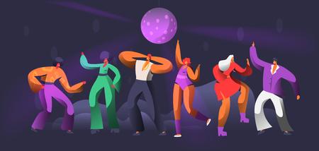 Danza del carattere del ballerino di partito in discoteca. Palla da discoteca su un gruppo di persone che ballano. Happy Friends Clubbing Concept per Banner di stampa. Illustrazione di vettore del fumetto piatto