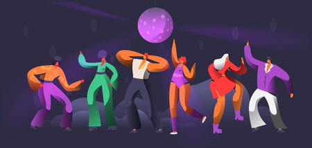 Party Dancer Character Dance in Nightclub. Disco Ball Over Group of People Dancing. Happy Friends Clubbing Concept for Print Banner. Flat Cartoon Vector Illustration Banque d'images - 113507609