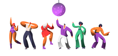 Disco Character Dance at Retro Concert. Disco Ball Over Group of People Dancing. Happy Man Woman Clubbing Nightlife Concept for Print Banner. Flat Cartoon Vector Illustration Ilustração Vetorial