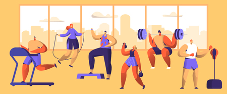 Gym Workout Character Set. Sport Cardio Fitness Man and Woman Figure Collection. Healthy Aerobic Weightlifter, Boxer Exercise with Dumbell. Flat Vector Illustration Illustration