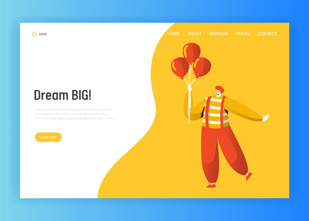 Clown Character Landing Page Template. Funny Carnival Joker Holding Balloon Making Fun Face. Birthday Party Circus Concept for Website or Banner. Flat Cartoon Vector Illustration Vektorové ilustrace