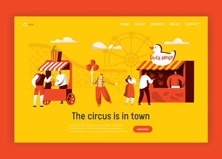 Amusement Park Landing Page Template. Coaster rides, Circus Happy Clown Character with Balloon Concept for Website or Banner. Fun Entertainment Playground. Flat Cartoon Vector Illustration Illustration
