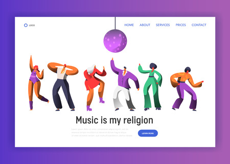 Disco Dancing Characters Landing Page Template. Dance Night Party Festival for Website or Web Page. Nightlife Club Dancer Banner. Flat Cartoon Vector Illustration