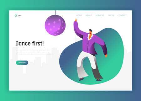 Disco Ball Dancer Character Landing Page. Retro Dance Man Lifestyle. Nightlife Fever Concept for Website or Web Page. Evening Club Event. Flat Cartoon Vector Illustration Ilustração