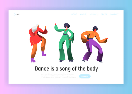 Retro Dancer Character Dance Landing Page. Man and Woman Dancing on Music Party, Nightlife Concept for Website Template. Flat Cartoon Vector Illustration Ilustração