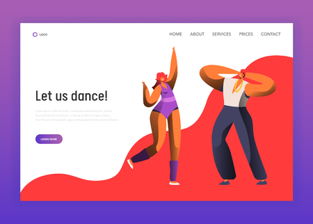 Couple Dance at Night Club Landing Page Template. Party Dancer Man Woman Character Together Retro Style Website Layout Ui. People Modern Evening Music Movement. Flat Cartoon Vector Illustration  イラスト・ベクター素材
