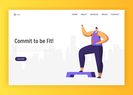 Aerobic Fitness Character Design for Landing Page. Crossfit Man Exercise in Gym. Healthy Urban Workout Training Lifestyle Website Concept. Flat Cartoon Vector Illustration