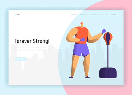 Boxing Training Character Design for Landing Page. Boxer Man Exercise in Gym. Power Fight Workout Lifestyle Website Concept. Flat Cartoon Vector Illustration