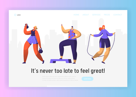 Gym Fitness Character Landing Page. Sport Cardio Workout Man and Woman Figure Collection. Healthy Aerobic Lifestyle Concept for Website or Banner Template. Flat Vector Illustration Stock Vector - 123179049