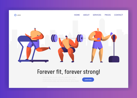 Gym Boxing Training Character Set for Website Design. Sport Cardio Workout Man Figure Collection. Healthy Weightlifting, Boxer Athlete Landing Page Concept. Flat Vector Illustration Illustration