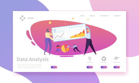 Digital Marketing Analysis Report Chart Landing Page. Business Strategy Analyzing for Progress by Character. Internet Market Analytics Chart Design for Website or Web Page. Flat Vector Illustration