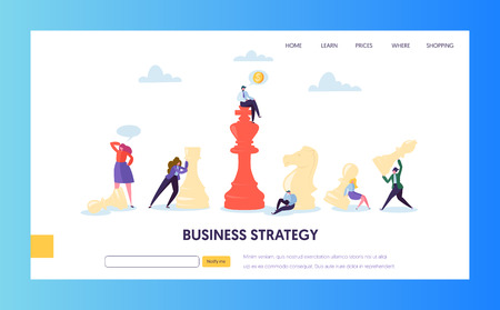 Business Strategy Plan Teamwork Landing Page. Businessman Character Play Chess. Effective Corporate Analysis Game for Finance Success. Marketing Target Concept for Website. Flat Vector Illustration