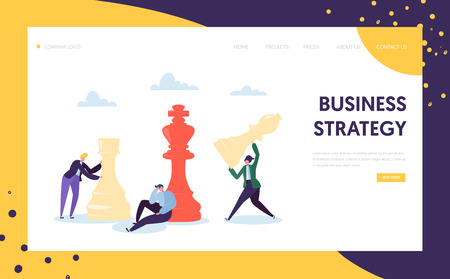Business Strategy Plan Thinking Landing Page. Businessman Character Team Play Chess. Strategic Game for Leadership Growth. Project Mistake Decision Website or Web Page. Flat Vector Illustration