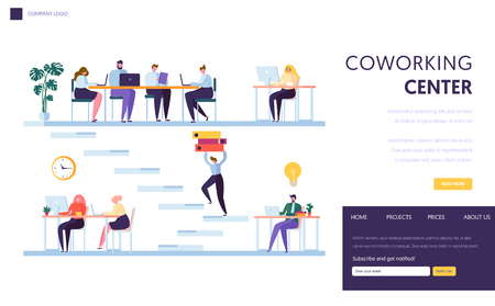Coworking Office Space Landing Page. People Freelancer Character Work by Laptop. Business Team Outsourcing Together in Open Loft Workspace Website or Web Page Template. Flat Vector Illustration Banque d'images - 113974695