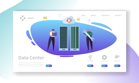 Data Center Server Repair Landing Page. Technician Character Support Professional Storage with Laptop. Database Hosting Hardware Infrastructure Website or Web Page. Flat Vector Illustration