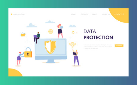 Internet Data Safety Network Landing Page. Business Information Digital Shield Technology Icon. Server Privacy Encryption Concept for Website or Web Page. Flat Vector Illustration