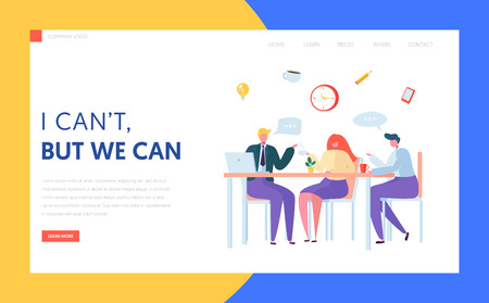 Office Coffee Break Landing Page. Business Character Team on Lunch Meeting. Creative Staff Chat Together at Workplace Concept for Website or Web Page. Flat Character Vector Illustration Banco de Imagens - 123179060