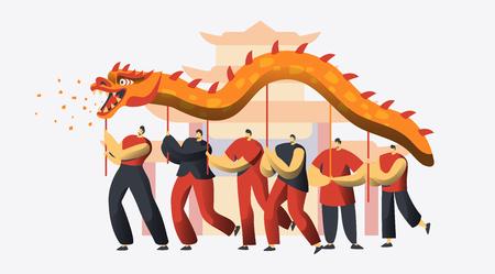 Festival de danse du dragon du nouvel an chinois. Défilé de fête traditionnelle de caractère de vacances lunaires asiatiques. Heureux homme célébrer le concept de prospérité pour l'illustration vectorielle de bannière plat dessin animé