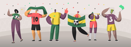 Football Brazil Fan Team Set Illustration. Happy Friends Celebrate Brazilian Soccer Event Victory. Man Woman Character Hold Flag, Scarf on Stadium Background Flat Cartoon Vector Banner