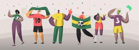 Football Brazil Fan Team Set Illustration. Happy Friends Celebrate Brazilian Soccer Event Victory. Man Woman Character Hold Flag, Scarf on Stadium Background Flat Cartoon Vector Banner