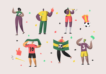 Football Brazil Fan Character Set Illustration. Happy Friend Team Celebrate Brazilian Soccer National Victory. Man Woman Crowd Hold Flag, Scarf Isolated Background Flat Cartoon Vector Collection