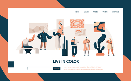 Art Gallery Exhibition Visitor Landing Page. People Character Group at Famous Painting Frame Artwork Exposition Concept for Website or Web Page. Flat Cartoon Vector Illustration