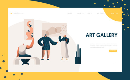 Art Gallery Exhibition Presentation Landing Page. People Character Artist Represent Modern Painting Frame Artwork Concept for Website or Web Page. Flat Cartoon Vector Illustration Illustration